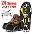 Wirezoll Crampons, Stainless Steel Ice Traction Cleats for Snow Boots and Shoes, Safe Protect Grips for Hiking Fishing Walking Mountaineering etc.