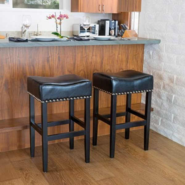 Great Deal Furniture 238552 Camilla Black Leather Backless Bar Stools W Chrome Nailheads Set Of 2