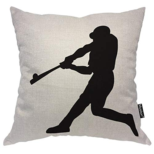 Moslion Throw Pillow Cover Baseball Player 18x18 Inch Club Community Team Athlete Sport Strong Square Pillow Case Cushion Cover for Fathers Day Home Car Decorative Cotton Linen