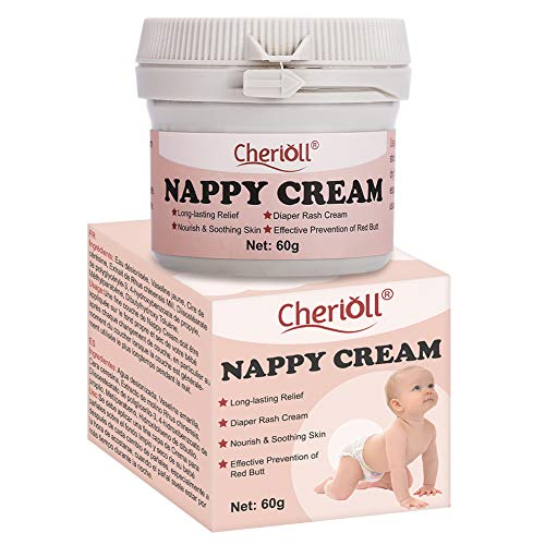 Diaper Balm,Nappy Cream, Diaper Rash Cream, Cloth Diaper Safe Herbal Ointment, Nourish & Soothing Skin, Effective Prevention of Red Ass, for The Treatment of Nappy Rash,Long-Lasting Relief, 60g