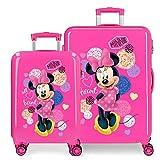Disney Love Minnie Juego de Maletas Rosa 55/68 cms Rígida ABS Cierre combinación 104L 4 Ruedas Dobles Equipaje de Mano