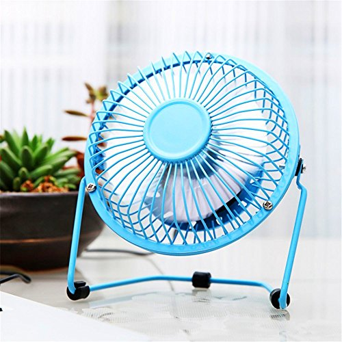 Mini ventilatore usb ventola Ferro estate ricaricabile foglia di alluminio ventilatore portatile, blu