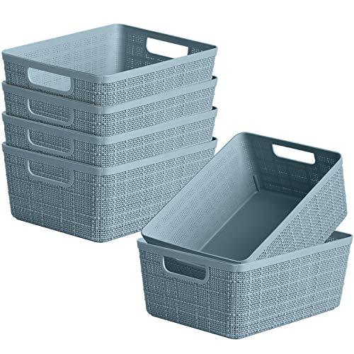 6 Pack Plastic Weave Storage Basket Dveda Durable Woven Plastic Organizer Baskets Portable Shelves Storage Baskets for Bathroom Kitchen Office 9 x 7 x 41  Light Blue