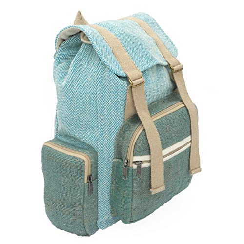 "seasara Rucksack ""Made by Ram"" türkis/aquablau Fairtrade Fairtrade Eco Ethno Damen Herren Daypack Schulrucksack Laptoprucksack Stoffrucksack Fahrradrucksack Baumwolle Hanf vegan | Handmade in Nepal"