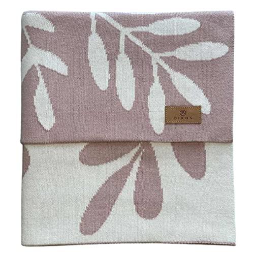Babydecke Baumwolle Zweigen rosa - aus 100% GOTS Bio Baumwolle KBA (kontrolliert biologischer Anbau) Mädchen Baumwolldecke Baby Decke Strickdecke Kuscheldecke Schmusedecke Geschenk zur Geburt