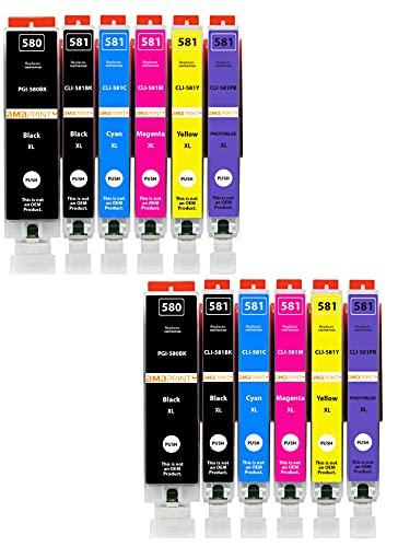 Amaprint 12 cartucce XL compatibili con Canon PGI-580 CLI-581 con Foto-Blu per Pixma TS8100 TS8150 TS8151 TS8152 TS8200 TS8250 TS8251 TS8252 TS8300 TS8350 TS8351 TS8352 TS9100 TS9150 TS9155