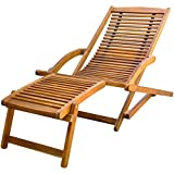 vidaXL Garden Outdoor Deck Chair Sunlounger Recliner with Footrest Foldable Acacia Wood