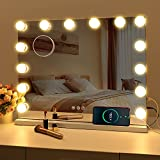 FENCHILIN Vanity Mirror with Lights, Hollywood Lighted Makeup Mirror with 14 Dimmable LED Bulbs for Dressing Room & Bedroom, Tabletop or Wall-Mounted, Slim Metal Frame Design (White)