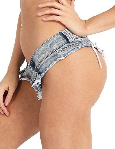 iixpin Damen Bikinihose Beachshort Hotpants Jeansshorts Denim Shorts Destroyed Style Jeans Hose Slip Hipster S M L Blau Small