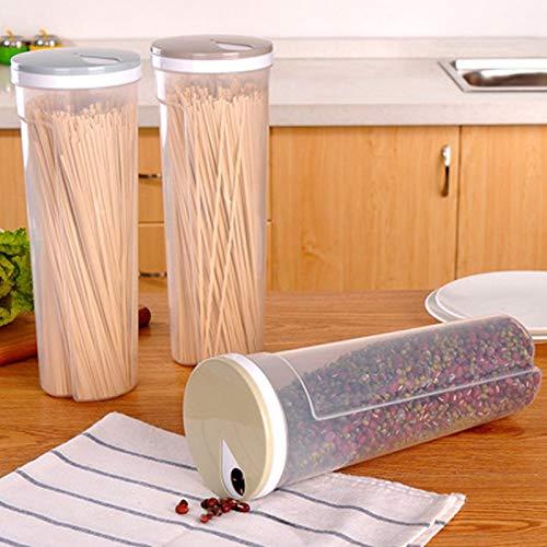Lebensmittel Lagerung Container,3 Stück Aufbewahrungsbehälter für Getreide,Mehrzweck Küchenkunststofflagerung mit Drehbarem Deckel zur Aufbewahrung von Nudeln, Getreide und Trockenfutter,3 Farben