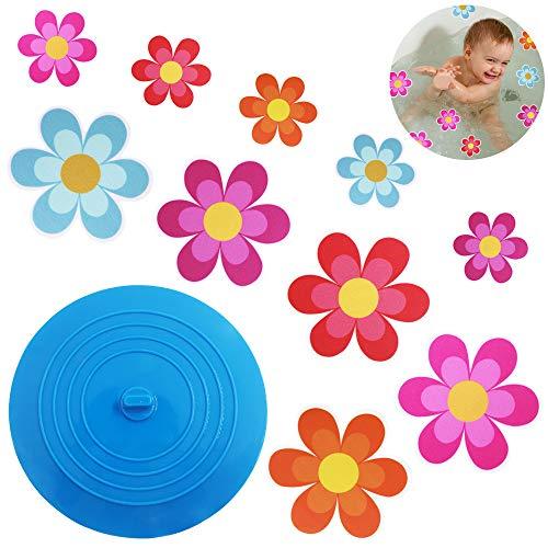 AIFUDA 22 piezas adhesivas florales antideslizantes para bañera con 1 tapón de bañera,Calcomanías…