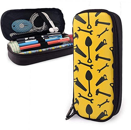Étui à crayons en cuir PU pour outil de réparation, sac à crayons de grande capacité, organisateurs de papeterie durables pour étudiants avec ceintures élastiques à double fermeture éclair