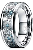 THREE KEYS JEWELRY 8mm Tungsten Rings Silver Punk Seal Gear Mechanical Light Blue Carbon Fiber with Metal Foil Inlay Wedding Bands for Men Size 7.5