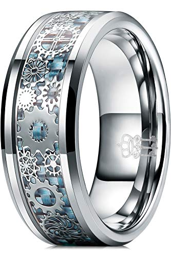 Three Keys Jewelry 8 mm Wolfram-Ringe Silber Punk Dichtung Getriebe Mechanisch Hellblau Kohlefaser mit Metallfolien-Inlay Hochzeitsbänder für Herren Größe Z+3