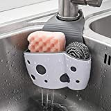 Sink Caddy Sponge Holder Sink Sponge Organizer, UNIKON 2 Pack Hanging Kitchen Adjustable Strap Faucet Caddy, White