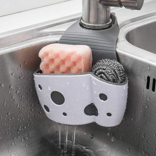 2 Pack Sink Caddy Sponge Holder Sink Sponge Organizer, UNIKON Hanging Kitchen Adjustable Strap Faucet Caddy, White