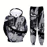 ZOSUO Unisex Naruto Uzumaki Capucha Pantalones Jogger Anime Uchiha Sasuke Cosplay Disfraz Hoodies Set Sweatshirts Pantalones Traje De Sudadera De 2 Piezas Conjunto Chandal,S