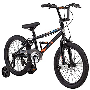 Mongoose Switch BMX Bike for Kids 18-Inch Wheels Includes Removable Training Wheels  Black