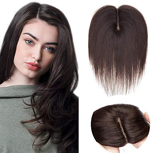 Haarteil Topper Remy Echthaar Dicker(Dichte:130%)Clip in Extensions Toupet Haarverlängerung Pony Toupee Frauen mit 4 Clips Dunkelbraun#2 16
