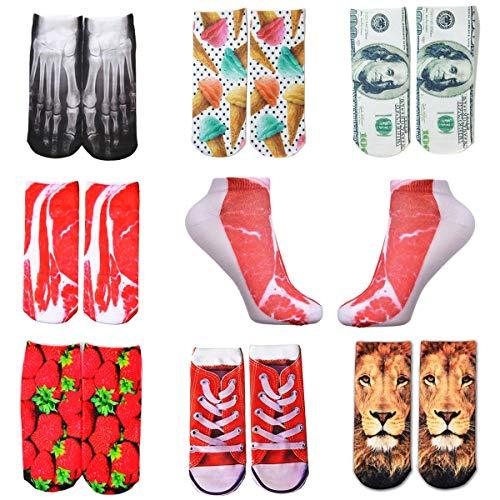Shop-Story – Set mit 7 Paar Socken, lustig, originell, mit 3D-Aufdruck, verschiedene Motive: Skelett, Fleisch, Dollar, Erdbeere, Eis, Löwe, Einheitsgröße – 35 bis 42