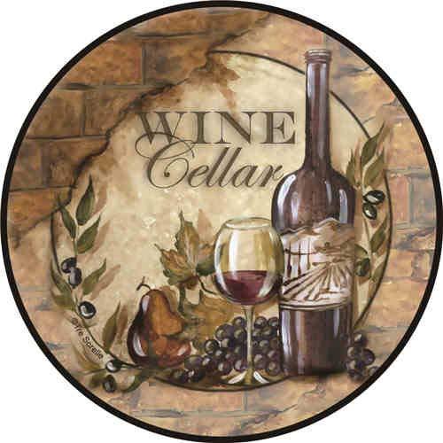 CaiBaiHui Modern Tin Sign Circular Wine Cellar ! Vintage Metal Tin Sign Wall Decor for Bar/Club/Cafe/Home Kitchen/Restaurant/Garage/Man Cave/Lounge Wall Art Décor 12 inches