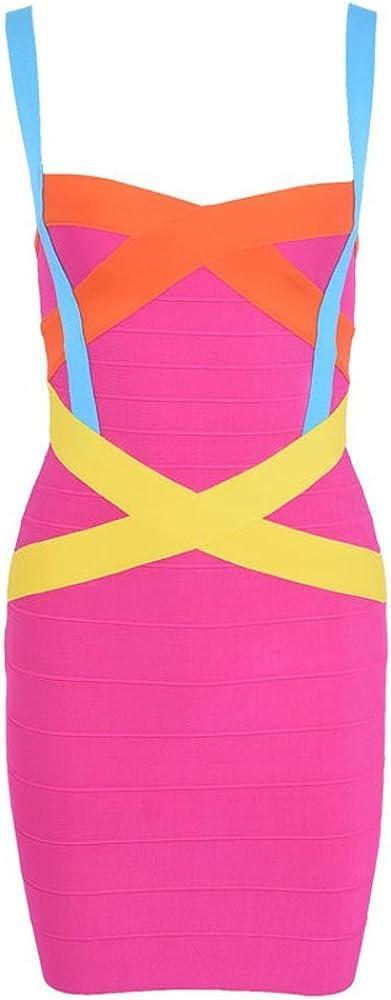 HLBandage Women's Gifts Spaghetti Max 59% OFF Strap Solid Rayon Bandage Dress Mini