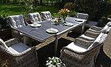 bomey Essgruppe Neapel in Grau I 7-teilige Garnitur I Rattan-Sessel Set bestehend aus 6 Sesseln und einem verlängerbaren Tisch auf 255 cm I Polstern in Beige I Für Garten + Terrasse +...