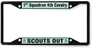 Sign Destination Metal License Plate Frame 1st Squadron 4th Cavalry Scouts Out Car Auto Tag Holder Black 4 Holes One Frame