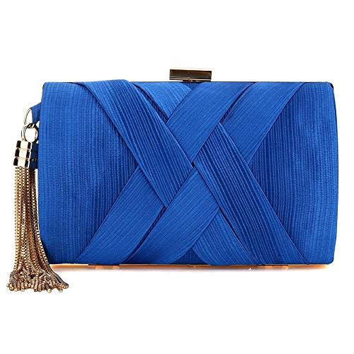 Bolso de mano para mujer, para fiesta de graduación, boda, bolsos de noche, para mujer, impresionante borla, color Azul, talla Talla única