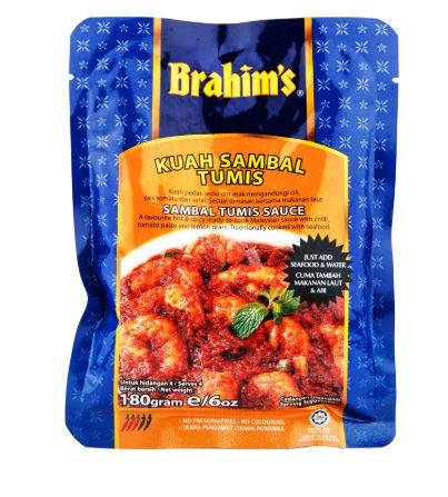 NT# Brahim's Sauce - Sambal Tumis 180g -A favourite hot and spicy ready-to-cook Malaysian sauce with chilli, tomato paste and lemon grass. Traditionally cooked with seafood.