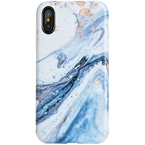 Reejax iPhone X Case for Girls,iPhone Xs Case Cute Case, Blue White Marble for Women Best Protective IMD Printing Slim Fit Clear Bumper Glossy TPU Soft Silicon Cover Phone Case for iPhone X 10