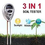 Soil PH Meter,3-in-1 Soil Test Kits with Moisture,Light and PH Tester for Plant,Garden