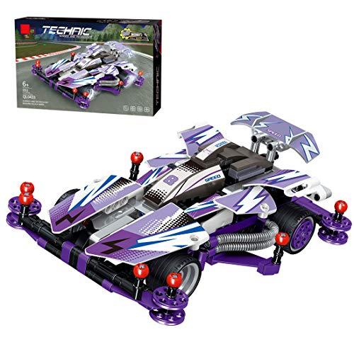 PARIO Juego de 492 piezas de coche retractor, juego de construcción 4 WD Pull Back Car MOC para minifiguras de juguete de construcción compatible con Lego