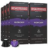 Roastesso Espresso Capsules, 80 Hioncaff Strong Caffeine Coffee Pods Compatible with Nespresso Original Line Machines, High Intensity 10, Ristretto Intenso Dark Roast Ristretto Blend