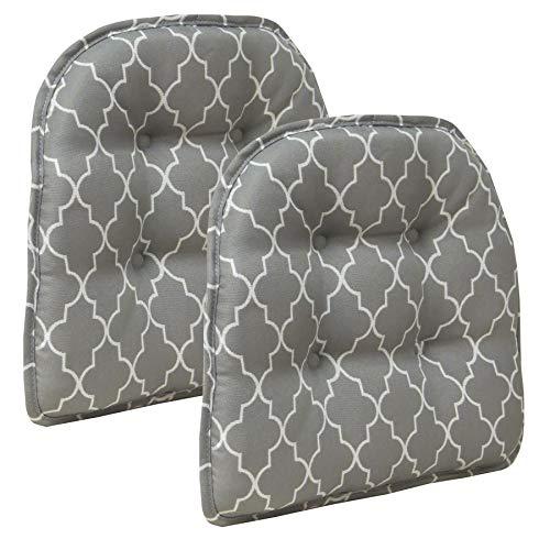 Klear Vu Trellis Gripper Tufted Non-Slip Geometric Dining Chair Cushions, Set of 2, 15' x 16', Gray