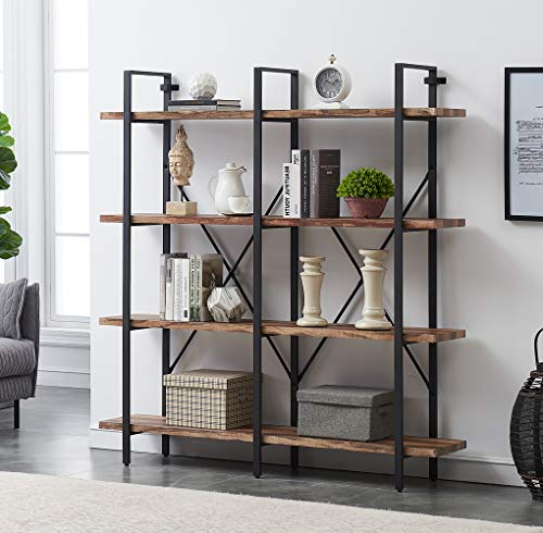 O&K FURNITURE Double Wide 4-Tier Open Bookcases Furniture, Rustic Industrial Etagere Bookshelf,...