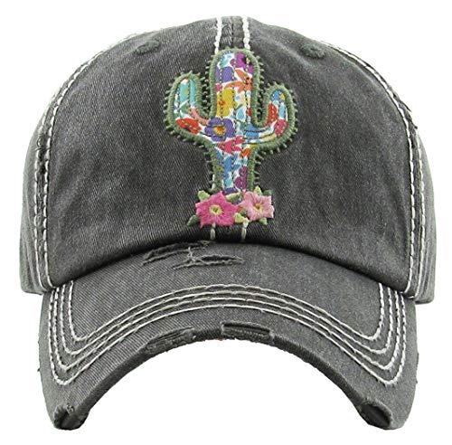 Distressed Baseball Cap Vintage Dad Hat - Cactus (Black)