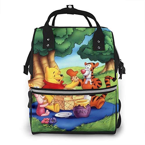 NHJYU Wickeltasche Rucksack - Pooh Picnic Multifunction Waterproof Travel Rucksack Maternity Baby Nappy Changing Bags