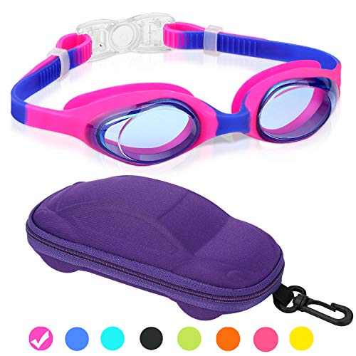 Kids Swim Goggles, Swimming Goggles for Boys Girls Kid Age 3-12 Child Colorful Swim Goggles Clear Vision Anti Fog UV Protection No Leak Soft Silicone Nose Bridge Protection Case Kids' Skoogles