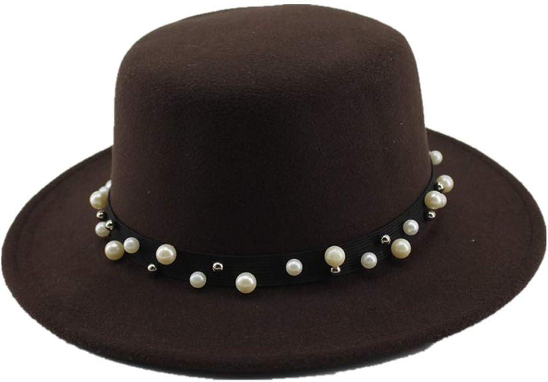 ZLFZZZ Women Boater Flat Top Hat Felt Wide Brim Fedora Hat Lady Prok Pie Chapeu De Feltro Bowler Gambler Hat Top Hats (color   Brown, Size   5658cm)