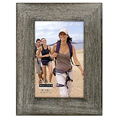 Malden International Designs Rustic Fashion Wide Linear Graywash Wooden Picture Frame, 4x6, Gray