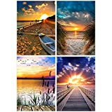 5D DIY Pintura Diamante,4 PCS Kits de Bricolaje de Pintura de Diamante 5D kit de Bordado de Arte de Diamante Arte de Punto de Cruz de Diamante,Puesta de sol en la playa