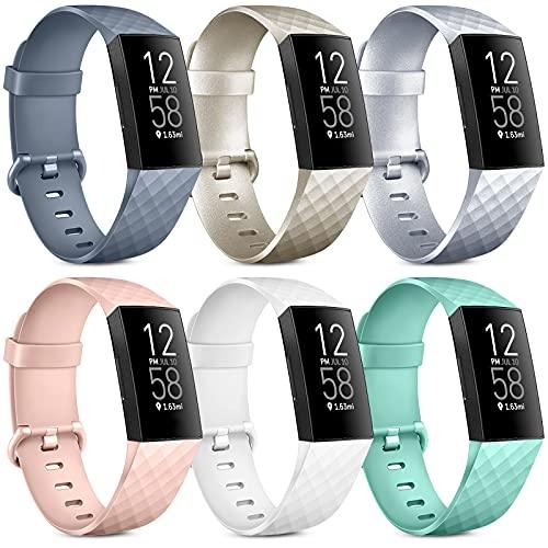 Oumida 6 Pack Kompatibel für Fitbit Charge 3 Armband/Fitbit Charge 4 Armband, Klassisch Sport Verstellbares Ersatzarmband für Fitbit Charge 4 / Fitbit Charge 3 (B, S)