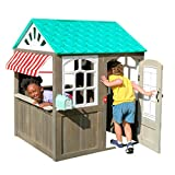 KidKraft 419 Coastal Cottage Outdoor Spielhaus mit gestreifter Markise im Café-Stil -...