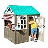 KidKraft- Casa de juguete de exteriores con un toldo a rayas como el de las cafeterías (casa de juguete de madera para exteriores) Playhouse, Color Marrón (419)