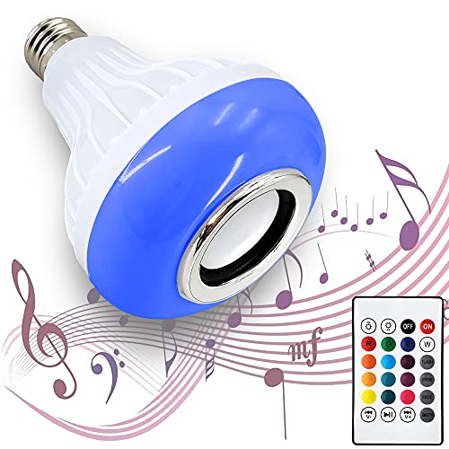AmeriLuck Bluetooth Speaker LED Light Bulb, Remote Control Color Changing for iOS & Android Phones, No WiFi Needed, Perfect for Party and Shower