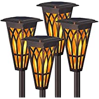 4-Pack Xmcosy Solar Flame Torch Waterproof Lights