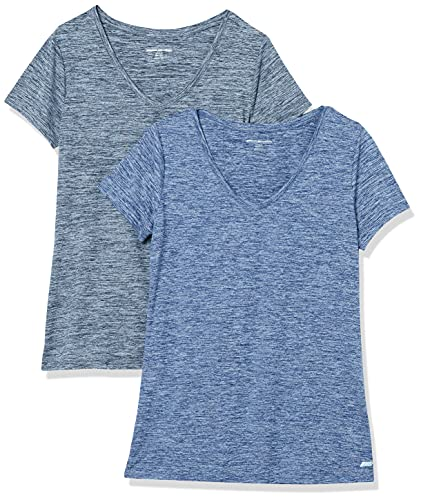 Amazon Essentials Women's 2-Pack Tech Stretch Short-Sleeve V-Neck T-Shirt, Black...