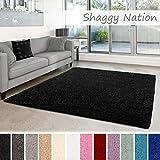 Shaggy-Teppich | Flauschiger Hochflor für Wohnzimmer, Schlafzimmer, Kinderzimmer oder Flur Läufer | einfarbig, schadstoffgeprüft, allergikergeeignet | Schwarz - 60 x 90 cm