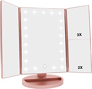 WEILY Miroir de Maquillage éclairé avec grossissement 3X / 2X, 21 Nuits LED Naturelles et Interrupteur Tactile, Piles et A...